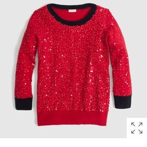 J crew factory scattered sequins sweater. Red navy
